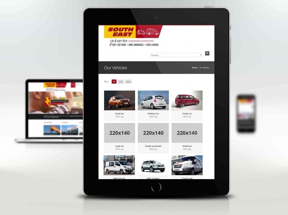 Homepage for South East Car and Van Hire Fractalise Portfolio