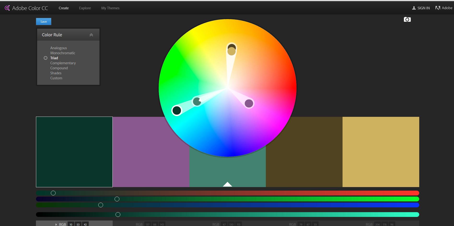 Adobe kuler wheel screenshot