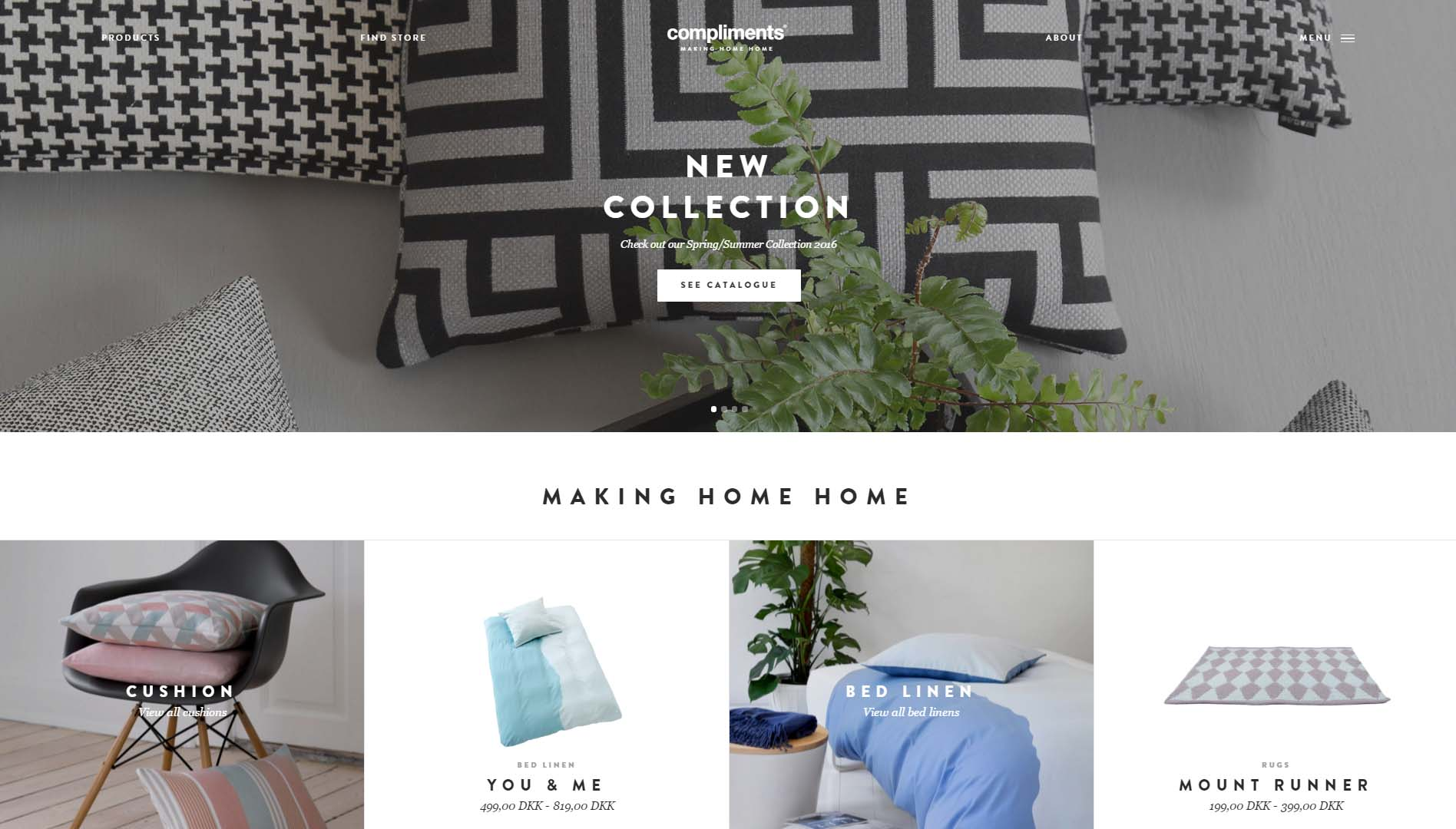 new collection website homepage